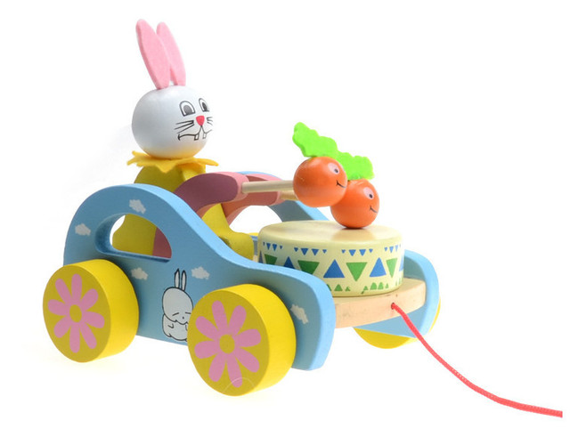 Push Toys For Toddlers : Wooden animal rabbit push and pull toys for toddlers baby children