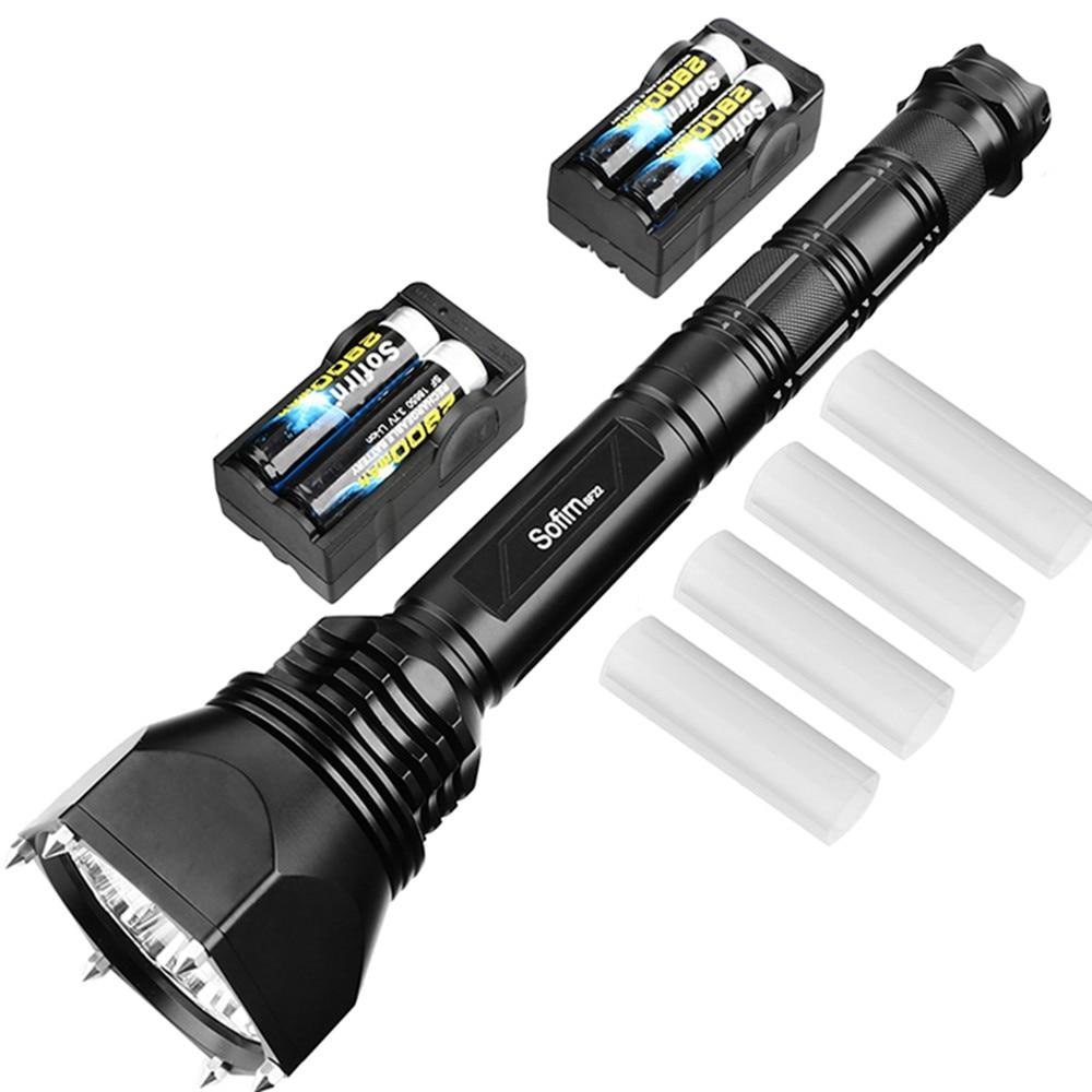 Value Set Mace LED flashlight Cree XML2 Powerful 6000 Lumen Self-defense Military Flashlight Adjustable+4*18650 Battery+Charger high lumen led flashlight 4 2v cree xml t6 2 18650 battery 5 modes focalize flash lamp 2 18650 batteries battery charger