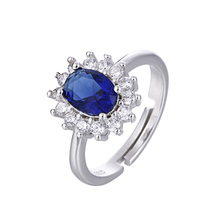 100% 925 sterling silver fashion blue CZ zircon ladies`wedding rings jewelry female finger open ring gift drop shipping girl tjp lovely heart shaped open size women finger jewelry fashion 925 sterling silver ring for girl wedding party cz crystal stones