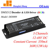 Free Shipping LED RGB Controller DMX, DMX decoder, Constant Current 350mA 3 channels/12V 48V/36W pn:DE8009