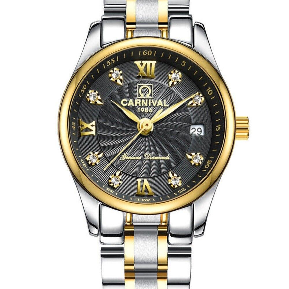 Carnaval Mulheres Lady Pulseira de Aço Relógio de Quartzo relógio de Pulso de Negócios de Moda À Prova D' Água caso de ouro mostrador preto