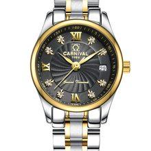 db6381b62fb Carnaval Mulheres Lady Pulseira de Aço Relógio de Quartzo relógio de Pulso  de Negócios de Moda