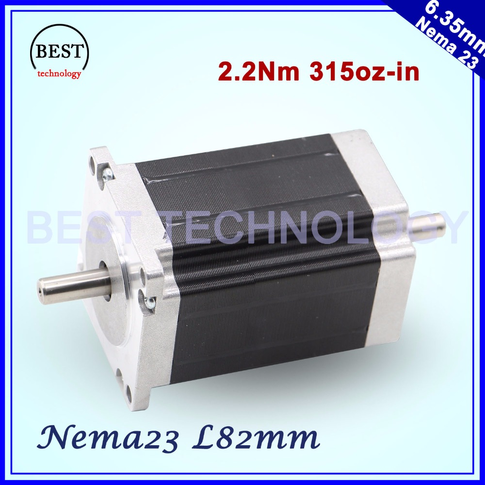 NEMA 23 Stepper motor 57x82mm double shaft 3A 2.2N.m 315Oz-in Both ends of the shaft Nema23 6.35mm For CNC machine 3D printer free ship 3pcs dual shaft nema 23 stepper motor 1 89n m 268oz in 76mm 3a direct selling