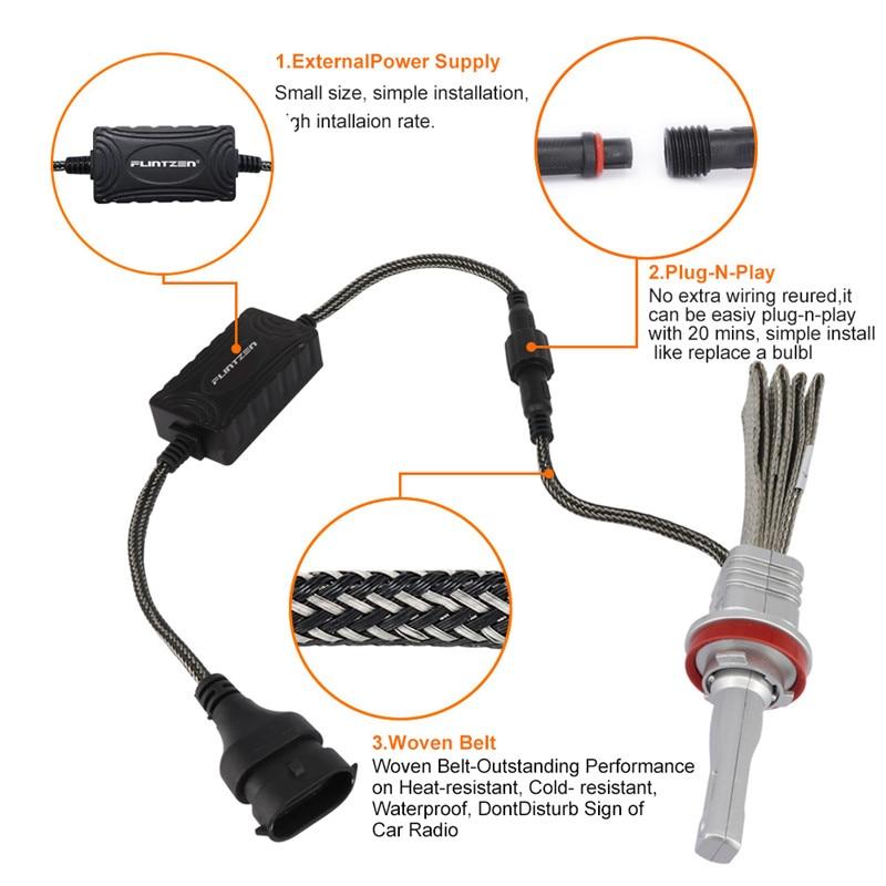 Image 2 - Flintzen 2pcs 40W H1 H4 H11 9005 9006 9012 H7 LED car headlights Copper Braiding HID Original Bulbs Replacement LED Car headlamp-in Car Headlight Bulbs(LED) from Automobiles & Motorcycles