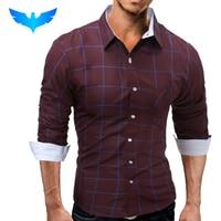 Brand 2017 Fashion Male Shirt Long Sleeves Tops Fashion Youth Hit Color Lattice Mens Dress Shirts