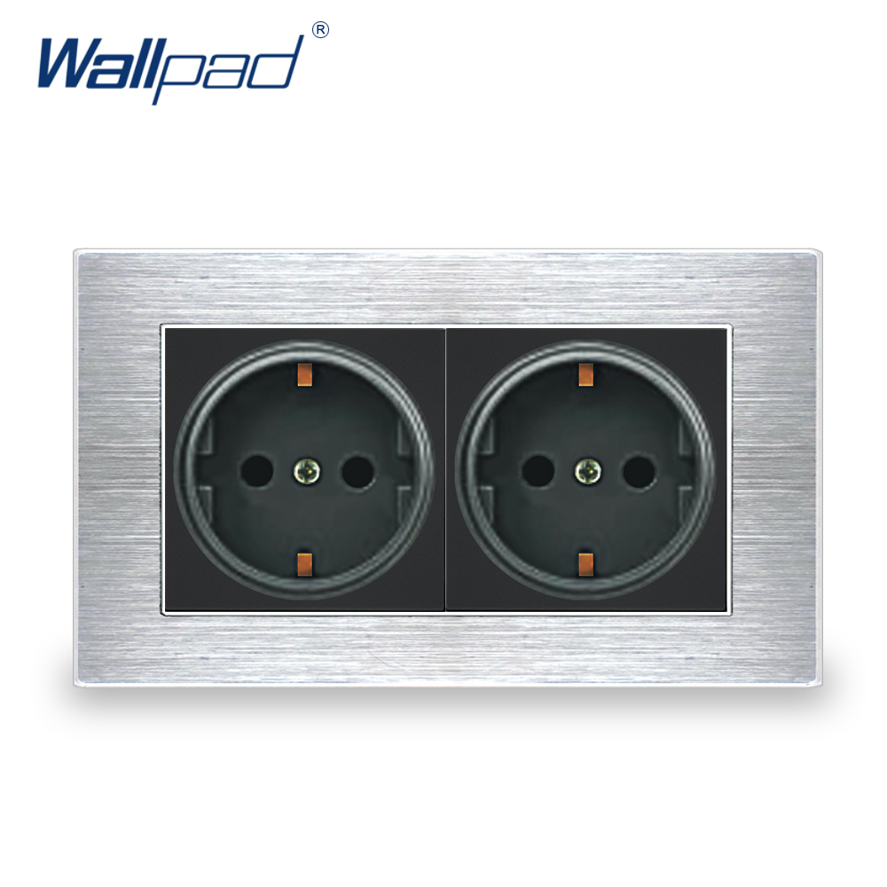 Double EU Socket German Standard Wallpad Luxury Wall Outlet Satin Metal Panel 146*86mm Wall Power Outlet Schuko цены