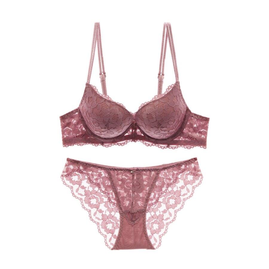 Fashion Sexy Full Lace Women's Decoration Thin Thick Push Up Bra Set Underwear Bra Sexy Panties