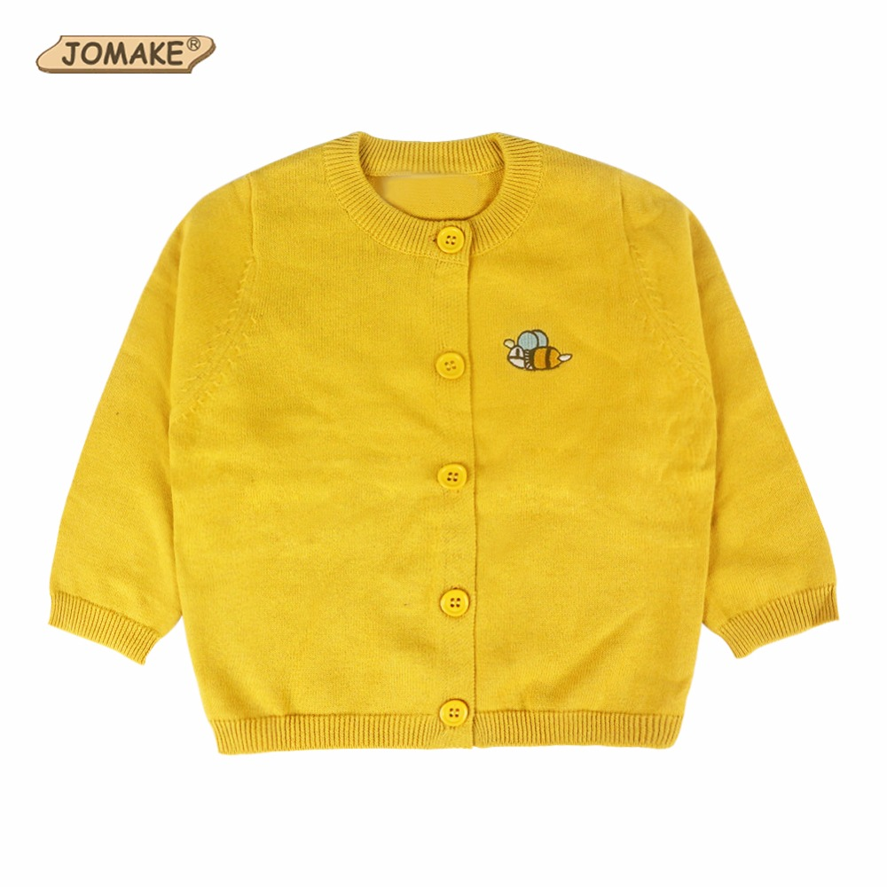 Cartoon Bee Embroidery Baby Cardigan Coat Jackets For Girls And Boys Children Knitted Sweater Cute Costume For Kids Clothes