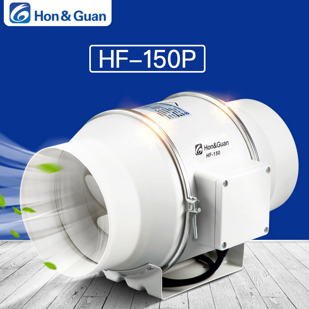 Hon&Guan 6'' Inline Duct Fan Exhaust Fan Mixed Flow Inline Fan Hydroponic Air Blower for Home Ventilation Bathroom Vent 312 CFM