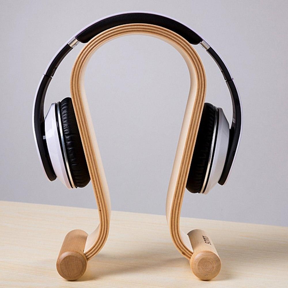 Top Deals SamDi Wooden Headphone Display Stand Headphone Holder Headset Hanger Suitable All Headphone Size in Birch (Beige)