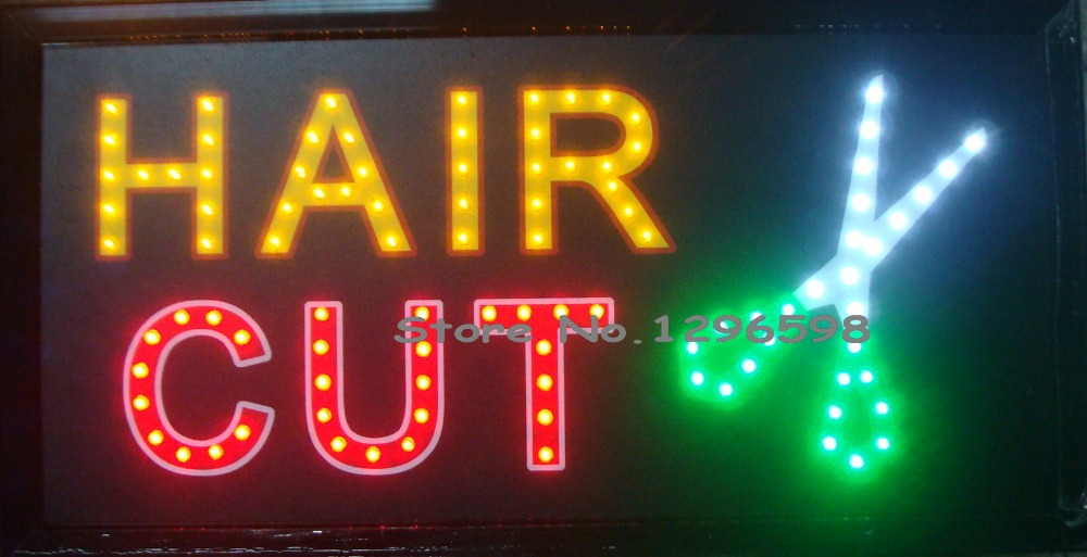 2017 Hair cut store signs direct selling custom semi-outdoor led sign graphics 10x19 Inch ultra bright flashing signage