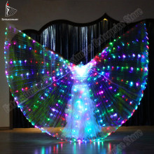 New Led Isis Wings Sticks Belly Dance Accessory Prop Dance lamp Props 360 Degrees Performance Pro Starry Lights Twinkling Wings(China)