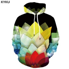 KYKU 3d Hoodies Rainbow Hoodie Men Flower Hoody Anime Refraction Hoodes Geometric Hooded Casual Harajuku Print Unisex