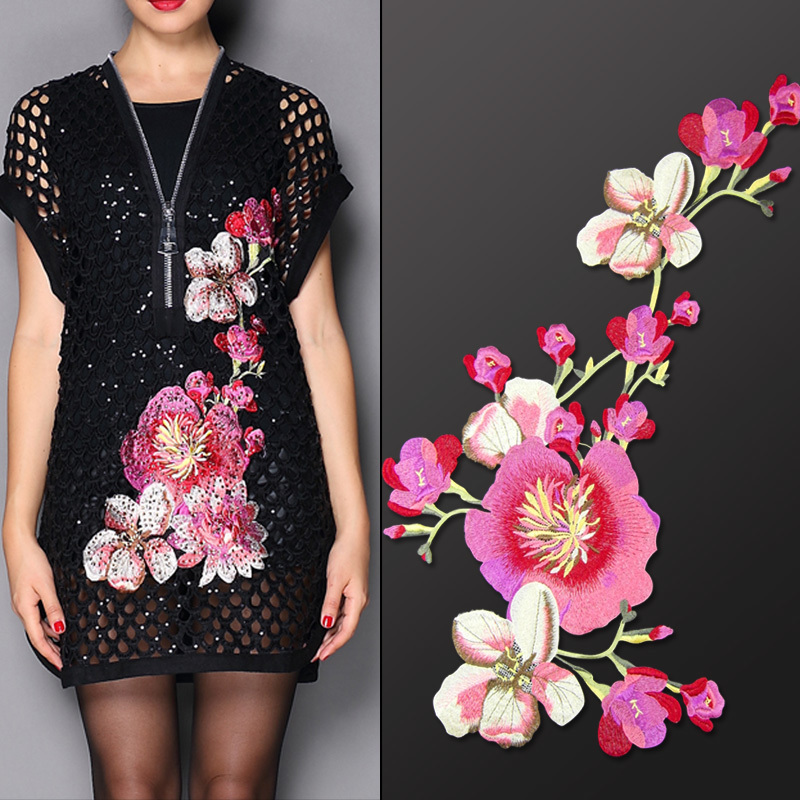 Image 3 - China National embroidery large cloth posted auspicious Flower clothes patch decals DIY velvet dress decoration accessories-in Patches from Home & Garden on AliExpress