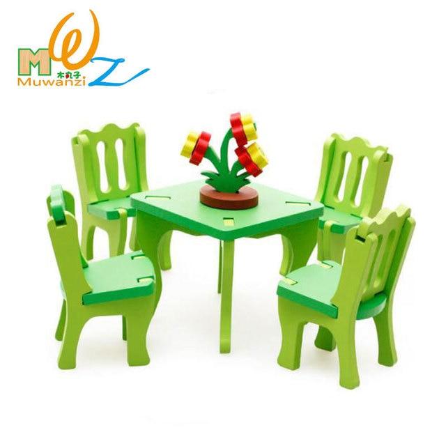 Mwz 3d En Bois Salle A Manger 4 Chaises 1 Table Ensemble Enfants