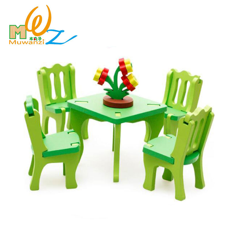 MWZ 3D Wooden Dinning Room 4 Chairs 1 Table Set Children Educational Puzzle Kids Miniature Furniture Assembling Toys For Girl
