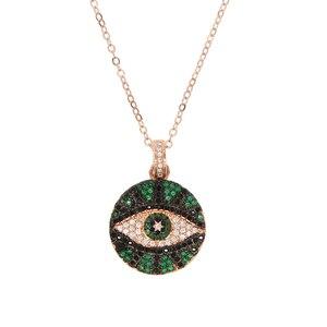 Розовое золото Цвет Круглые ожерелья и подвески для монет для женщин простой сглаза очарование ожерелье изящные многослойные подарки