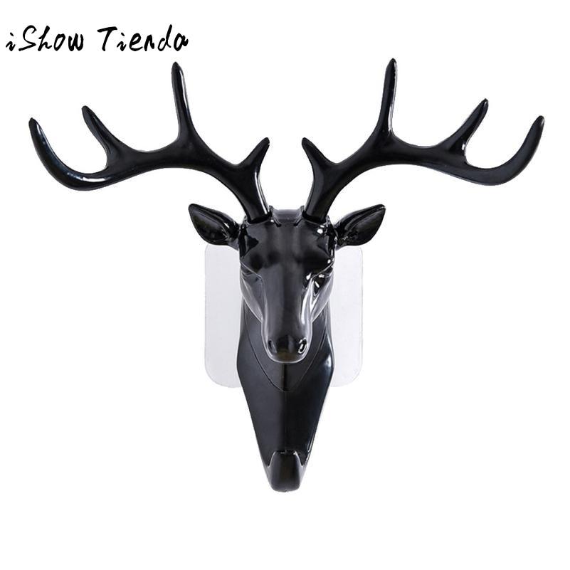Deer Head Animal Self Adhesive Clothing Display Racks Hook Coat Hanger Cap Room Decor Show Wall Bag Keys Sticky Holder