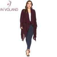 IN'VOLAND Women Cardigan Tops Big Size XL-4XL Spring Autumn Long Sleeve Drawstring Draped Large Sweater Jacket Oversized