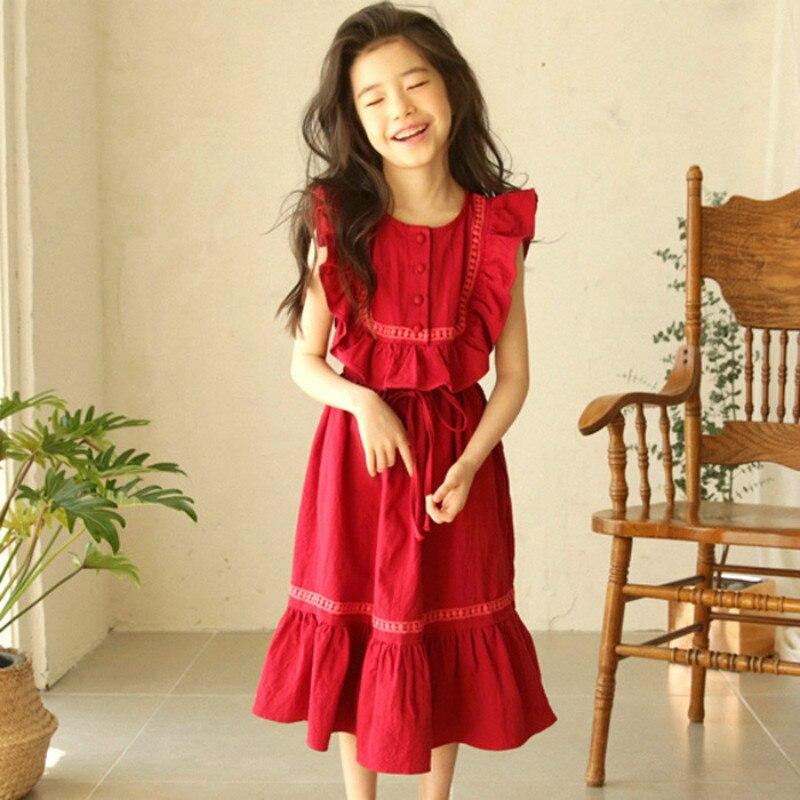 f87a1fcad0 Girls Cotton Dresses New Summer Brand Kids Princess Dress Cute Ruffles  Design for Teenage Girls 4