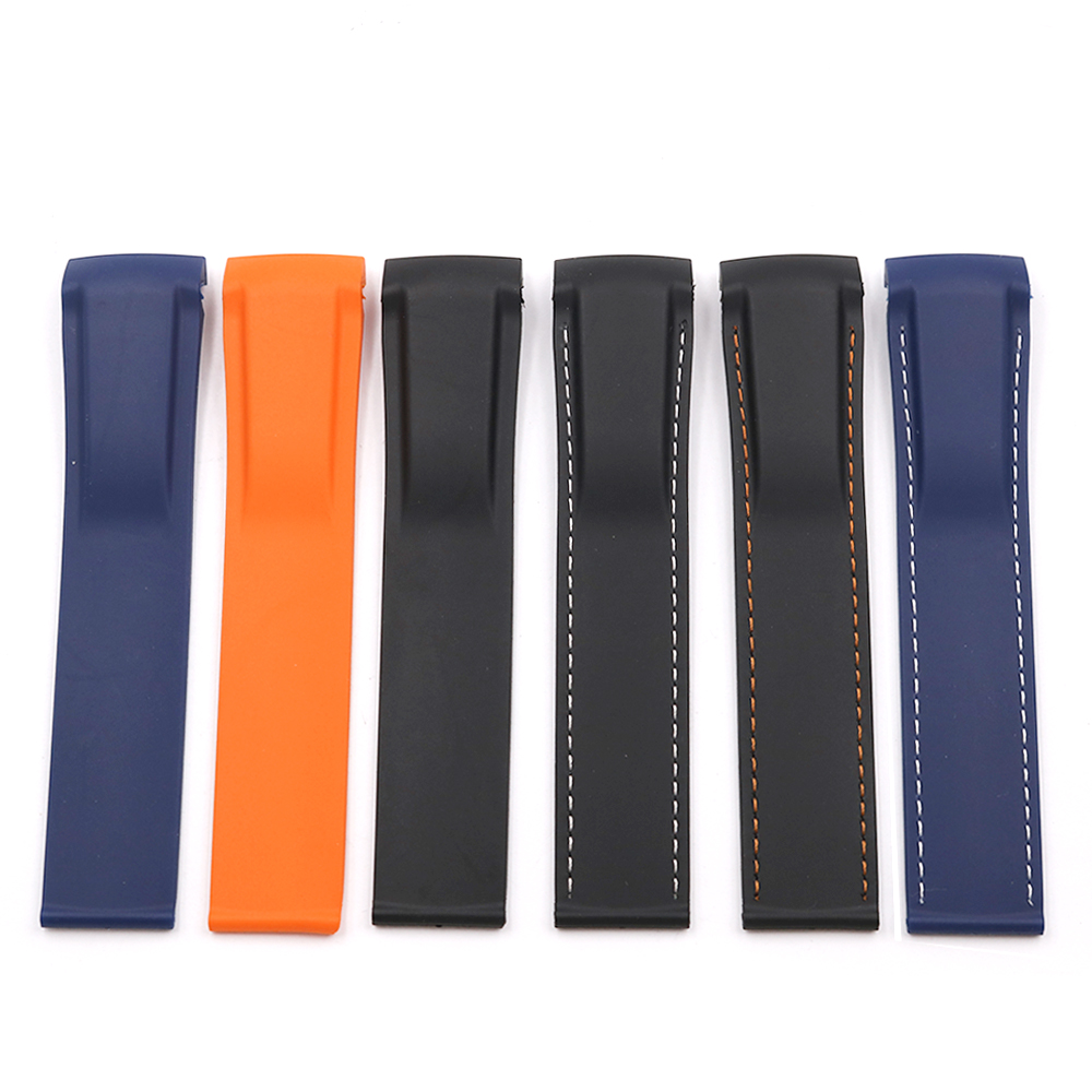 CARLYWET 20 22mm Wholesale High Quality Rubber Silicone Replacement Watch Band Strap Belt For Planet Ocean 45 42mm in Watchbands from Watches