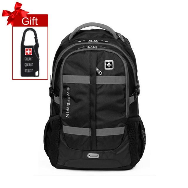 """Swisswin moda 15 """"16"""" 17 """"mochila laptop grande capacidade homens saco diário bolsa de viagem caso militar mochila escolar para Adolescentes Menino"""