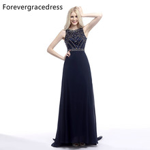 Forevergracedress Actual Pictures Navy Blue Evening Dress A Line Sleeveless Beaded Crystals Long Formal Party Gown Plus Size