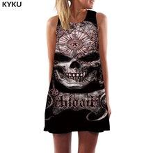 KYKU Skull Dress Women Black Short Geometric Korean Style Punk Tank Retro Vestido Sexy Womens Clothing Summer Ladies Large Sizes