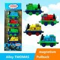 4 unids/lote Thomas y sus amigos ABS y Material aleación tire hacia atrás magnética coches para niños mejores regalos Thomas tren de la historieta juguete de los niños