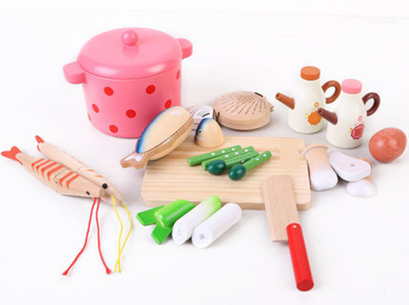 New Wooden Baby Toy Magnetic Seafood Stew Pot Simulation Gifts