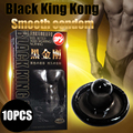 Davidsource Black King Kong 10PCS Latex Smooth Black condoms for horny men women adult sex products free shipping