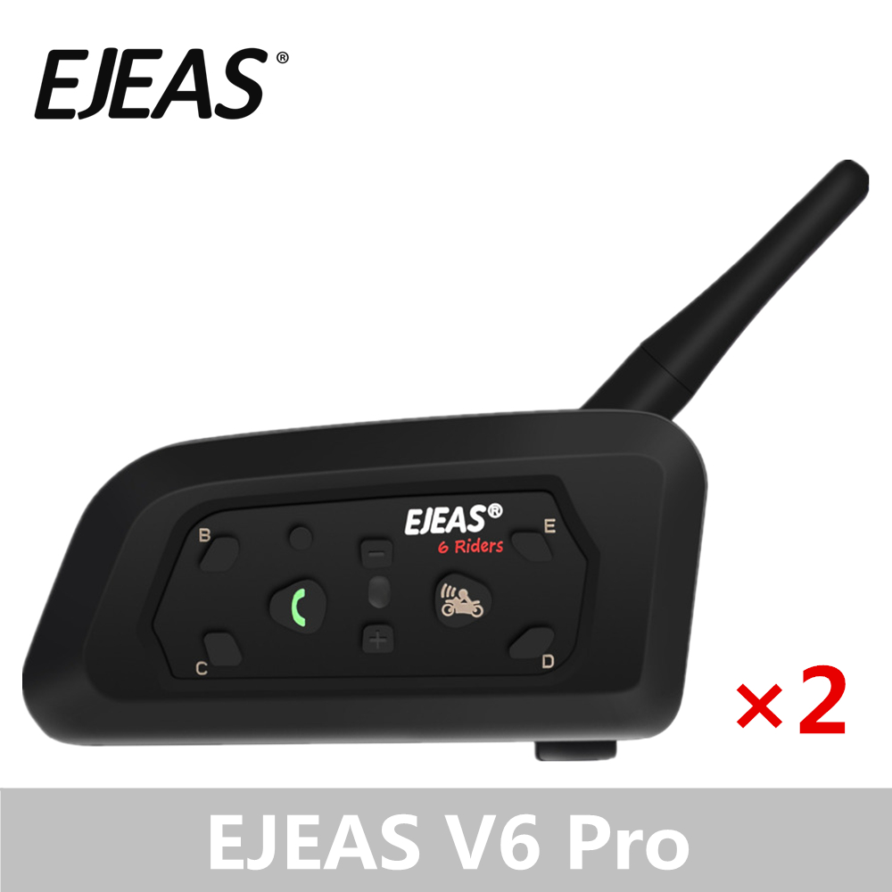 A Pair EJEAS V6 Pro Bluetooth Intercom Motorcycle Accessories Speaker 1200m Interphone Helmet Headset Speaker Wireless GPS MP3