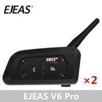 A Pair EJEAS V6 Pro Bluetooth Intercom Motorcycle Accessories Speaker 1200m Interphone Helmet Headset Speaker Wireless GPS MP3 Helmet Headsets     -