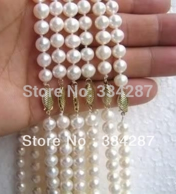 100% Selling Picture full 6PC 8-9mm A Akoya white pearl necklace 18 INCH
