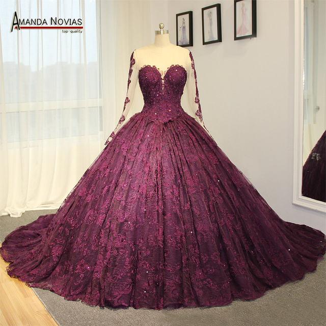 Online Shop Amazing high-end wedding dress purple lace wedding ...