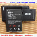 ZTE Li3820T43P3h785439 3.8V 2000mAh Original Mobile Phone Battery For ZTE Blade L3 Battery + Universal Battery Charger