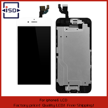 20pcs/lot For iPhone 6 LCD Display Screen Touch Digitizer Glass Assembly+Front Camera small parts black White/black Free DHL