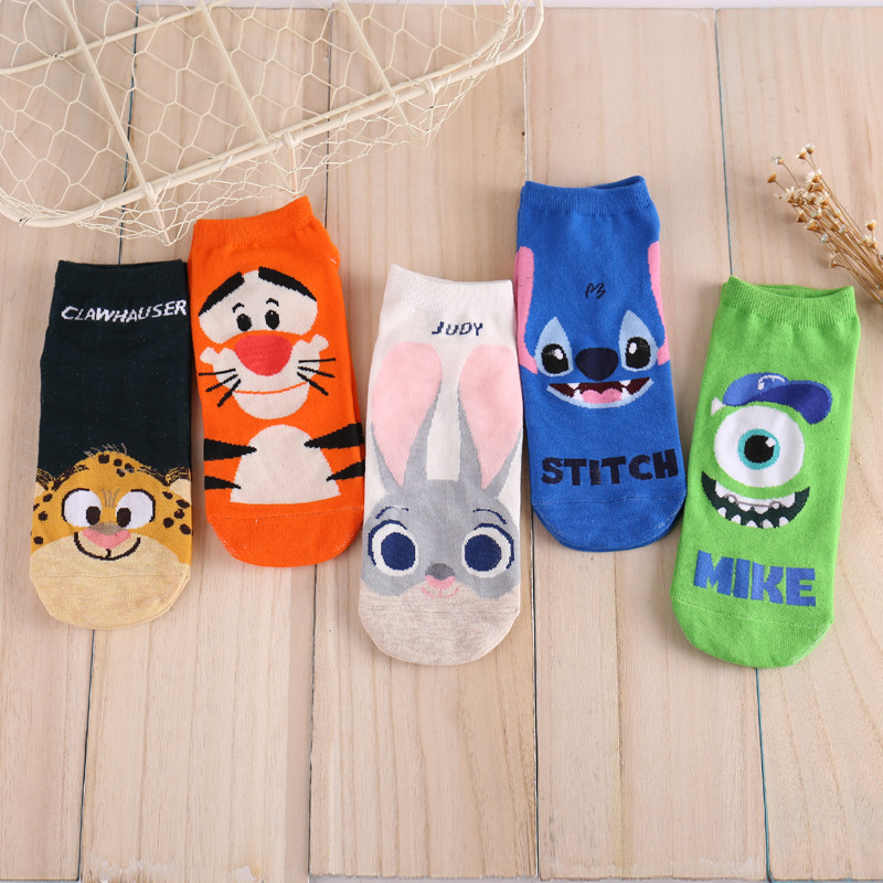 Newly Design Cute Cartoon Zootopia Stitch Mike Socks Striped Pattern Women Cotton Socks Drop Shipping