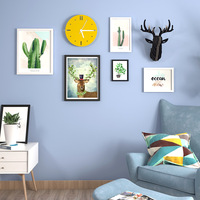 Cactus Picture Frame+Clock+Reindeer Head Wall Decoration Photo Frame Set Mounted Wooden Picture Frame Set Home Decor Accessories