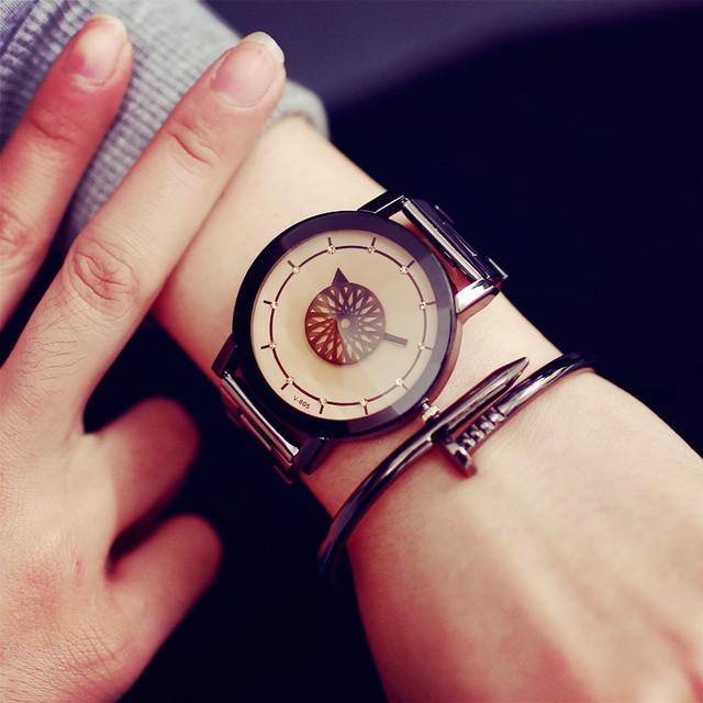 Turntable Unique Design Watch Fashion Luxury Diamond Mirror Women Watches 2017 BGG brand stainless steel quartz Lover wristwatch