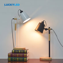 LUCKYLED American Table light Flexible Swing Arm Desk Lamp Arm Folding Study Book Reading Light E27 / E26 Holder Dimmer Switch(China)