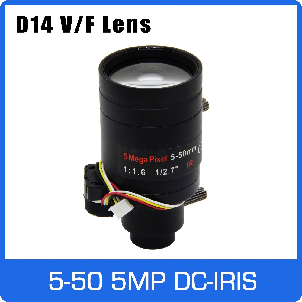 5Megapixel Varifocal  D14 Mount DC IRIS CCTV Lens 5-50mm Long Distance View 1/2.7 inch Manual Focus and Zoom For  IP/AHD Camera5Megapixel Varifocal  D14 Mount DC IRIS CCTV Lens 5-50mm Long Distance View 1/2.7 inch Manual Focus and Zoom For  IP/AHD Camera