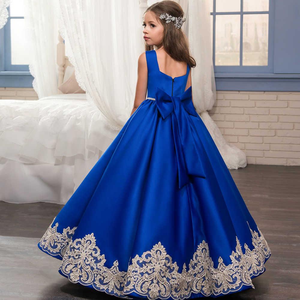 רויאל בלו הילדה פרח שמלות לחתונה סינדרלה כדור המפלגה שמלת בנות להתלבש ילדי נסיכה ראשית הקודש בנות