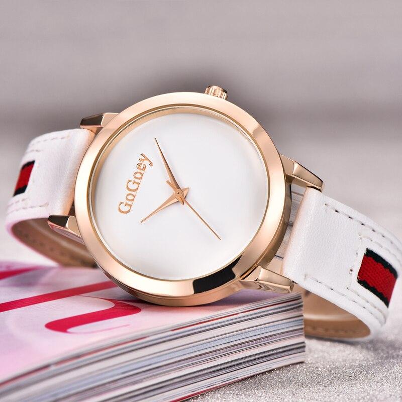 5162420ad5a7 Reloj de cuarzo mujeres Gogoey marca de lujo Relojes de Cuero damas Popular de  moda Casual reloj de oro
