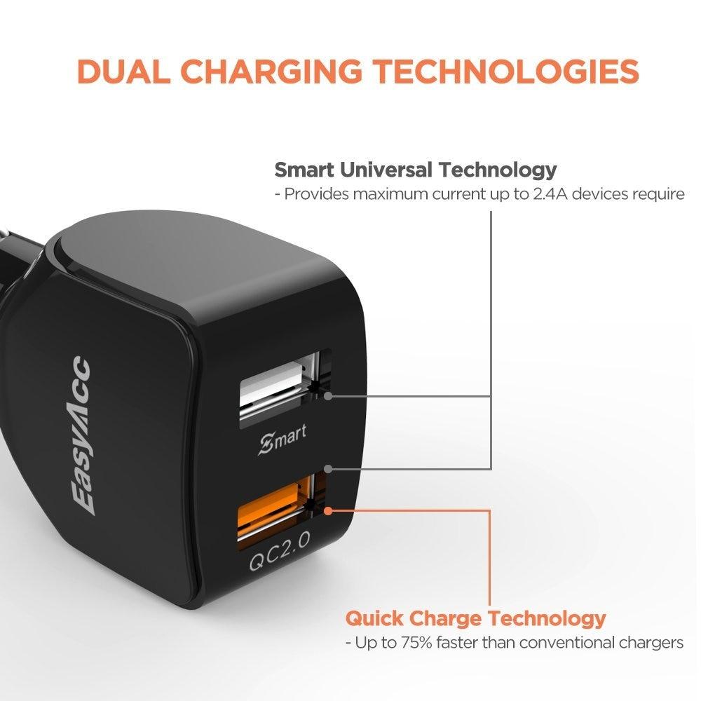 EasyAcc 2.4A 30W Dual USB Car Charger Mendukung Pengisian Cepat Untuk - Aksesori dan suku cadang ponsel - Foto 5