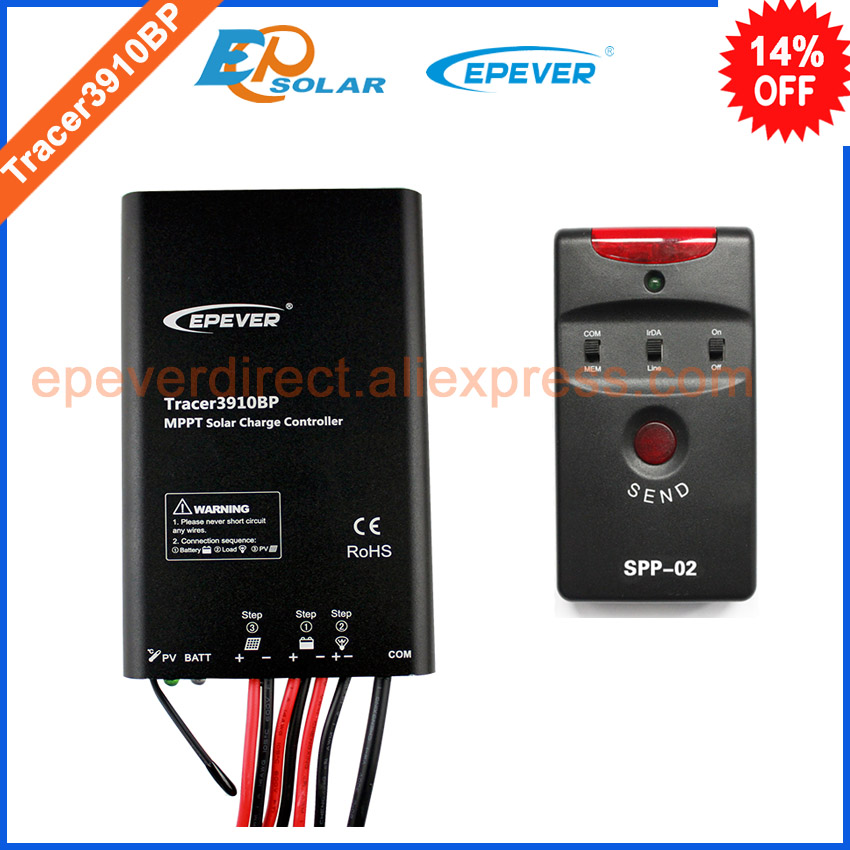 24v regulator MPPT solar tracking controller Tracer3910BP 15A 15amp with spp-02 for 12v 195w solar panel system use 20a 12 24v solar regulator with remote meter for duo battery charging