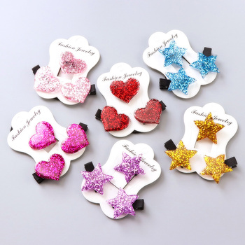 1Set=3PCS Children Headwear Acrylic Love Star Elastic Hair Band Safety Hair Clips Colorful Cute Girls Gift Kids Hair Accessories 1