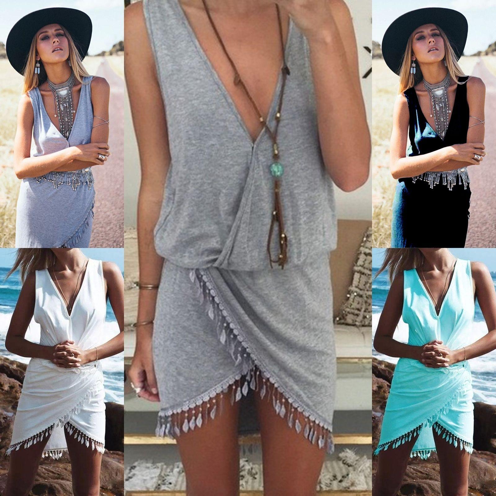 Mujeres de las señoras de boho beach v-cuello del verano sin mangas del partido