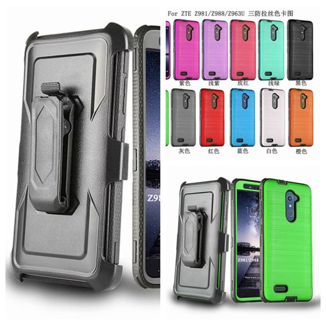 Heavy Armor Defender Stand Belt Clip Holster Case For ZTE Zmax Pro Z981 Z988 Grand Prime G530 Brushed Holster Cover Case Fundas