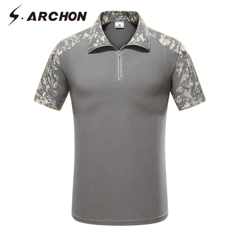 S.ARCHON Quick Dry Tactical   Polo   Shirt Men Camouflage Short Sleeve Military   Polo   Shirt Summer Casual Breathable Cotton   Polo